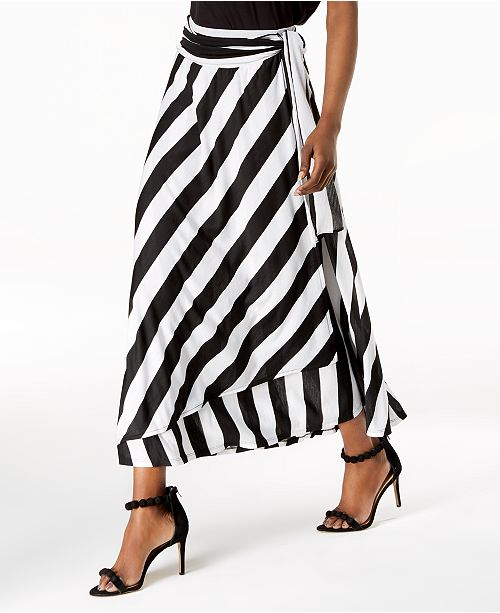 21fee696e0 I.N.C. Striped Wrap-Tie Maxi Skirt, Created for Macy's