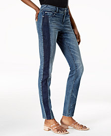 I.N.C. Curvy-Fit Two-Tone Skinny Jeans, Created for Macy's