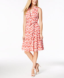 Anne Klein Flowerfall Printed Faux-Wrap Dress