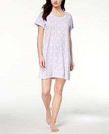 Charter Club Contrast-Print Cotton Sleepshirt, Created for Macy's