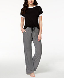 DKNY Contrast-Trim Pajama Top & Striped Pajama Pants Sleep Separates