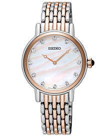 Seiko Women's Crystal Two-Tone Stainless Steel Bracelet Watch 29.4mm