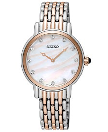 Seiko Women's Crystal Two-Tone Stainless Steel Bracelet Watch 29.4mm, Created for Macy's
