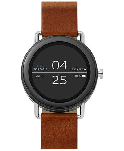 Skagen Unisex Falster Brown Leather Strap Touchscreen Smart Watch 42mm