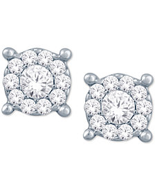 Diamond Halo Cluster Stud Earrings (1/10 ct. t.w.) in 10k White Gold