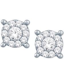 Diamond Halo Cluster Stud Earrings (1/10 ct. t.w.) in 10k White Gold