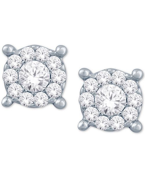 499403577 Macy's Diamond Halo Cluster Stud Earrings (1/10 ct. t.w.) in 10k ...