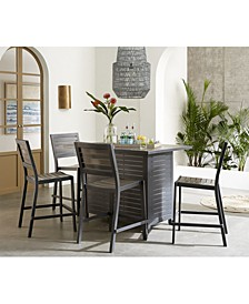 "Marlough II Outdoor Aluminum 5-Pc. Bar Set (52"" x 32"" Bar Table & 4 Bar Stools) with Sunbrella® Cushions, Created for Macy's"
