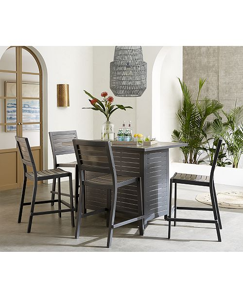 "Furniture Marlough II Outdoor Aluminum 5-Pc. Bar Set (52"" x 32"" Bar Table & 4 Bar Stools) with Sunbrella® Cushions, Created for Macy's"