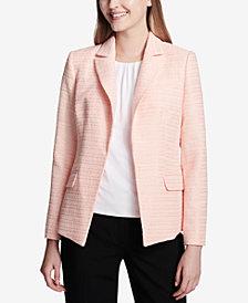 Calvin Klein Open-Front Tweed Blazer