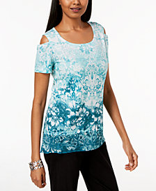 JM Collection Petite Embellished Printed Cold-Shoulder Top, Created for Macy's