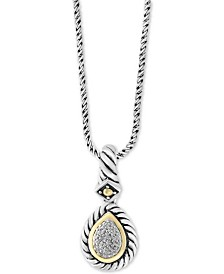 "Balissima by EFFY® Diamond Two-Tone 18"" Pendant Necklace (1/10 ct. t.w.) in Sterling Silver & 18k Gold"