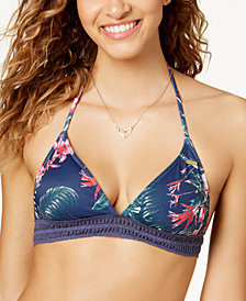 Roxy Arizona Dream Printed Crochet-Trim Halter Bikini Top