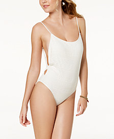 Roxy Surf Memory Crochet Cheeky One-Piece High-Leg Swimsuit
