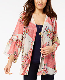 Style & Co Printed Bell-Sleeve Kimono, Created for Macy's