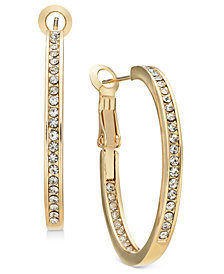 Essentials Gold Plated Crystal Inside Out Hoop Earrings