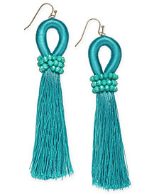 I.N.C. Gold-Tone Colored Bead & Thread Tassel Drop Earrings, Created for Macy's