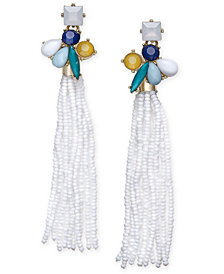 I.N.C. Gold-Tone Stone & Beaded Fringe Drop Earrings, Created for Macy's