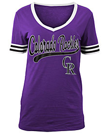 5th & Ocean Women's Colorado Rockies Retro V-Neck T-Shirt