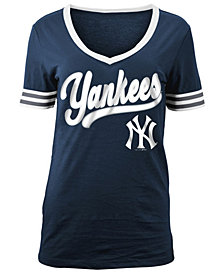 5th & Ocean Women's New York Yankees Retro V-Neck T-Shirt