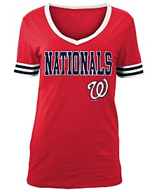 5th & Ocean Women's Washington Nationals Retro V-Neck T-Shirt