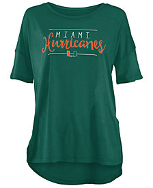 Royce Apparel Inc Women's Miami Hurricanes Hip Script Modal Crew T-Shirt