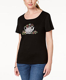 Karen Scott Petite Cotton Embellished T-Shirt, Created for Macy's