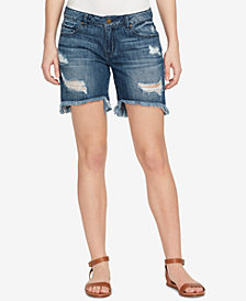 WILLIAM RAST Cotton Ripped Bermuda Shorts