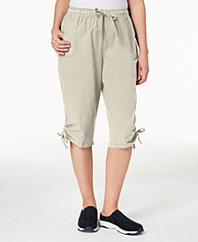 Karen Scott Petite Cotton Ruched Skimmer Shorts, Created for Macy's