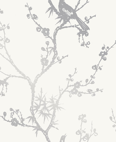 Cynthia Rowley for Tempaper Bird Watching White & Silver Self-Adhesive Wallpaper