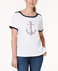 Alfred Dunner America's Cup Embellished Anchor-Graphic T-Shirt