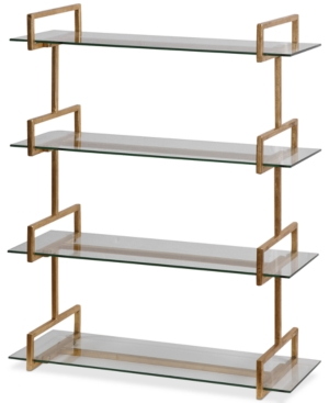 Ancient Greek-inspired styling meets modern utility with the antiqued, gold leaf finish frame and floating tempered glass shelves of this wall shelf from Uttermost.