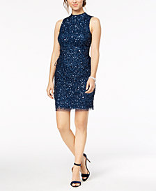 Adrianna Papell Sequined Lace-Up Sheath Dress