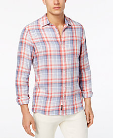 Michael Kors Men's Classic-Fit Plaid Linen Shirt