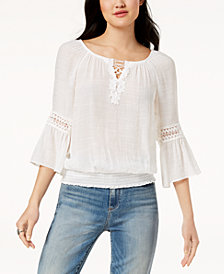 BCX Juniors' Crochet-Trimmed Peasant Blouse