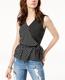 I.N.C. Petite Ruffled Wrap Top, Created for Macy's