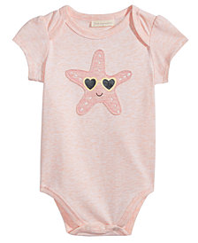 First Impressions Starfish Graphic-Print Bodysuit, Baby Girls, Created for Macy's