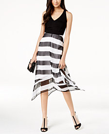 I.N.C. Petite Striped V-Neck Midi Dress, Created for Macy's
