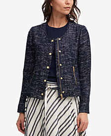DKNY Collarless Tweed Jacket