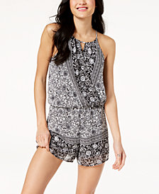 BCX Juniors' Printed Wrap Romper