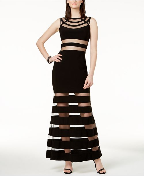 Gown Mermaid Black nude Adam amp; Betsy Stripe Illusion TfBznq8