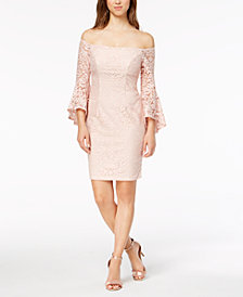 Xscape Petite Lace Off-The-Shoulder Bell-Sleeve Dress