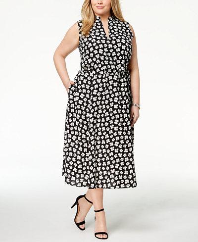 Anne Klein Plus Size Zuma Floral-Print Midi Dress