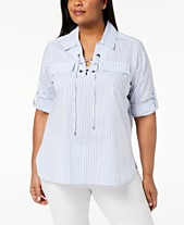 60cffbced7f Calvin Klein Plus Size Cotton Striped Lace-Up Top