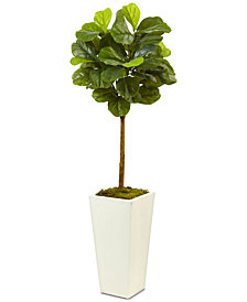 Nearly Natural 4.5' Fiddle Leaf Fig Real Touch Tree in White Planter