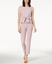 Nine West Tie-Waist Seersucker Blouse & Pants