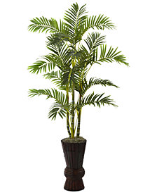 "Nearly Natural 62"" Areca Palm Tree with Decorative Planter"