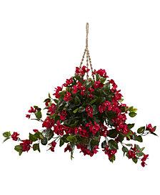 Nearly Natural Bougainvillea UV-Resistant Indoor/Outdoor Hanging Basket