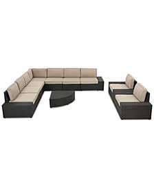 Santa Rosa Outdoor 10-Pc. Sectional Sofa Set, Quick Ship