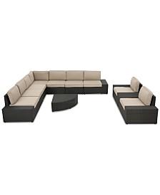 Santa Rosa Outdoor 10-Pc. Sectional Sofa Set, Quick Ship